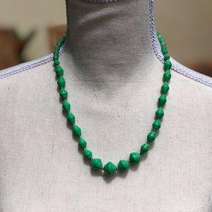 Single Strand, bright green beaded necklace